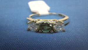 BIRKS Emerald and Diamonds Triplet Ring Appraised at $3945.00