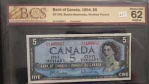Canadian 1954  5 Dollars Bank Note