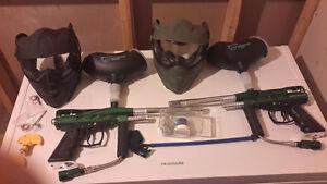 Paintball gun, helmet for two