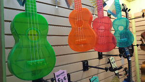 Water-resistant Transparent Ukuleles & other ukes