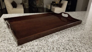 "Large Bombay Co. Mahogany Serving Tray 26"" L x 17.5"" D"