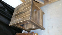 solid pallet wood stained table no hardware