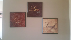 Set of 3 live love laugh pictures