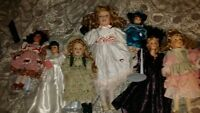 Very old collectors porcelain dolls mint condition top brand dol