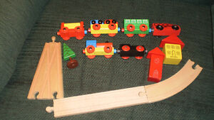 Wooden trains, track, building, etc.