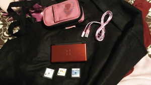 DS Lite with 3 games, charger, case and stylist