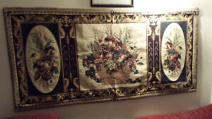 WALL TAPESTRY-MARQUETERIETapestry wall hanging. Needlepoint. Ar