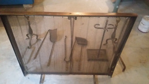 Antique Wrought Iron Fireplace Set