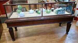 Antique glass and oak display case