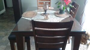 Table and 6 chair and bench