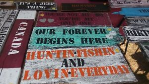 Hand Painted Barn Board Signs & Coat racks