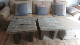 Pair of Unique Solid Wood hand made coffee / occasional tables.