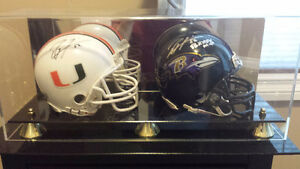 Ray Lewis Signed Mini Helmets with Display Case