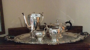Silverplate Tea Set on Serving tray