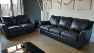 2 Black leather couches