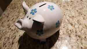 Piggy bank -  white with blue flowers