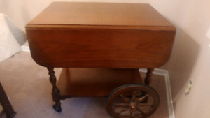 Expandable Rolling Tea cart Table w2 leafs-make larger/ smaller