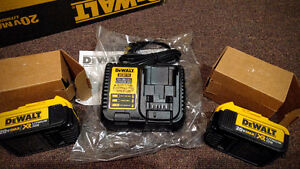 DeWalt Charger + Two Batteries 20V MAX XR 4.0 Ah  --- NEW