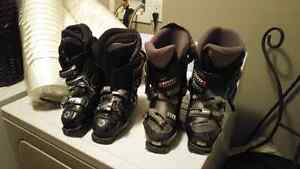 Ski and boots and poles