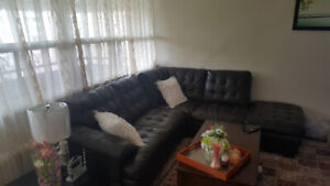 2 piece sectional sofa couch  (leather)