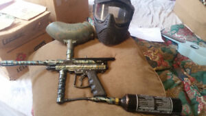 Paint ball gun plus mask