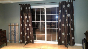 Brown curtains with flower pattern