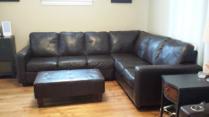 **Price Reduced**  Genuine Leather Sectional