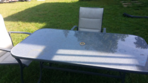 6 chair with glass top table patio set