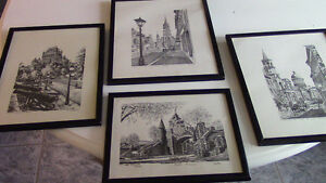 Black and White Framed Sketches - Montreal and Quebec Kitchener / Waterloo Kitchener Area image 1