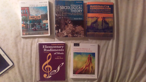 English, Sociology, and Music Textbooks