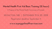 Mental Health First Aid Training - Moncton, Sept. 19 & 20