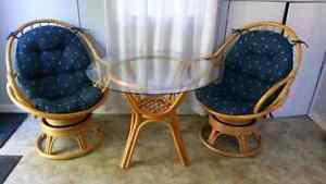 Rattan Glass Top Table with Two Chairs Cambridge Kitchener Area image 1