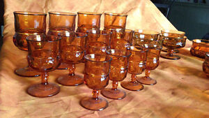 Amber Vintage Glass Dishes