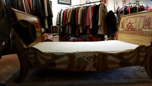 Vintage Sleigh Bed Frame Double Egyptian Motif hand painted Sarnia Sarnia Area image 7