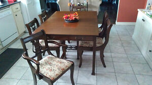 Goliath Style Table With 8 Harp Back Chairs and China Cabinet Kitchener / Waterloo Kitchener Area image 2