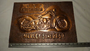 Harley Davidson Copper Embossed Plaque Knucklehead 1947