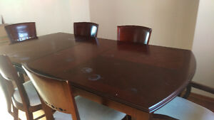 Heavy solid wood dining table set and kitchen