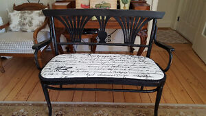 Black Painted Wooden Bench with Upholstered Seat