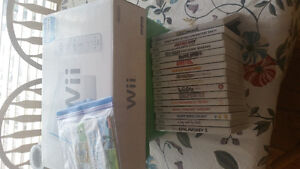Wii console with games and accessories
