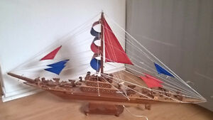 Handcrafted Wooden Model Ship/ Sailboat
