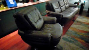 Leather sofa loveseat and chair with ottoman
