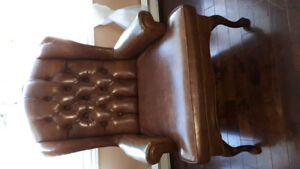 Vingtage 1940's wing back leather chair.