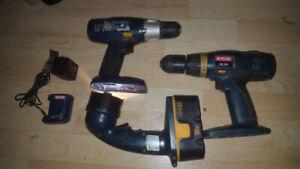 Ryobi Cordless Drills and Flashlight