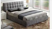 Grey fabric bed with spring slats & chrome feet