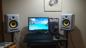Home studio -  Krk 6s with interface, Keyboard, pads & stands