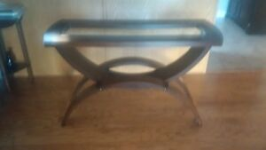 sofa table with glass