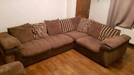 Left hand corner sofa and single chair. Open to offers