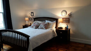 Queen bed frame & matching end tables