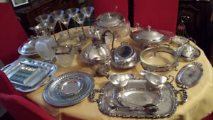 ANTIQUE SILVER TRAYS ,POTS, CARRAFE, ETC