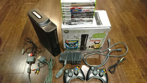 Xbox 360 Elite 120 GB with 2 Wireless Controllers + Games!